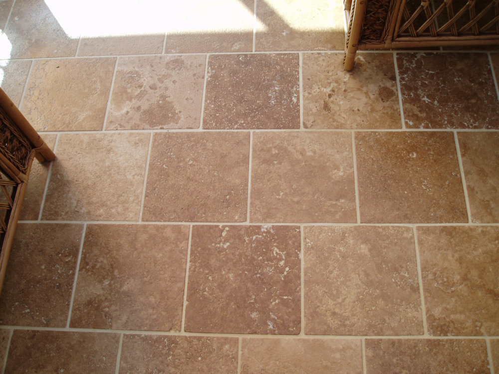 Travertine hard rock flooring for Hard floor tiles